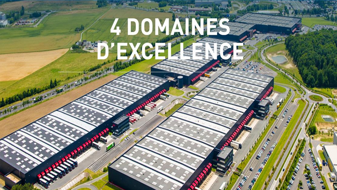 4 domaines d'excellence ( Logistique, Transport, Hôtellerie, Immobilier )
